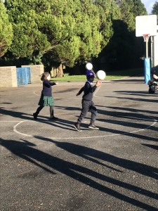 We are learning to hand-pass