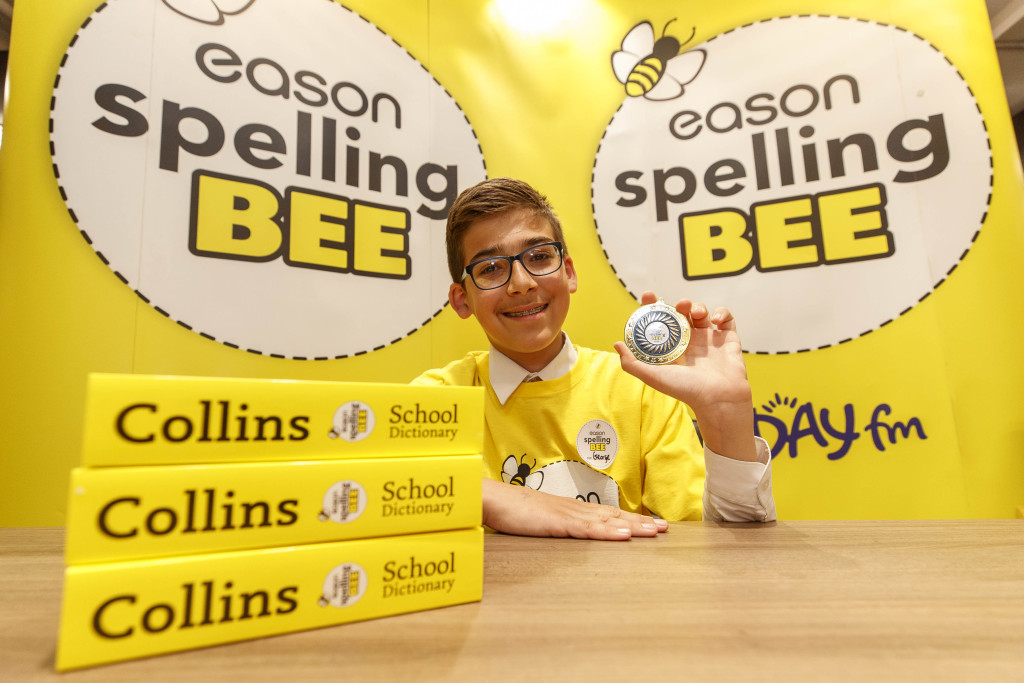 Repro Free: 21/05/2019 George Mhitarjans from St. Mary's national school in Athlone, was crowned champion speller in the 2019 Eason Spelling Bee Leinster final in Eason, O'Connell Street. Picture Andres Poveda