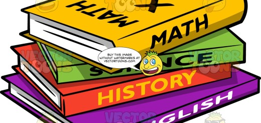 A stack of books with different colorful covers, in math, science, history, and English